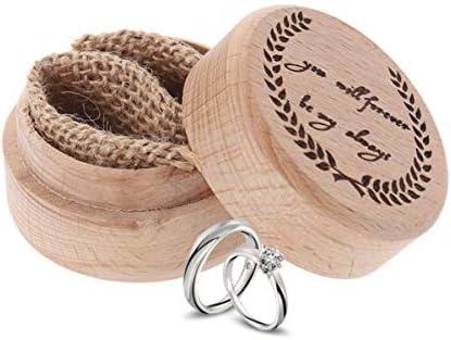 1ピースリングボックス素朴な木製ヴィンテージウェディングボックスリングホルダージュエリーボックスリングベアラー用提案結婚式婚約
