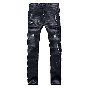 YTD Men's Zipper Biker Jeans Ripped Distressed Slit Denim Slim Stretch Moto Pants