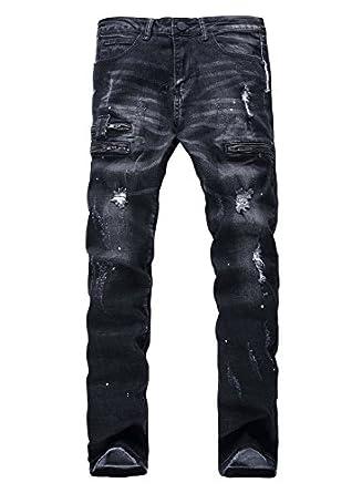 ytd mens zipper biker jeans ripped distressed slit denim