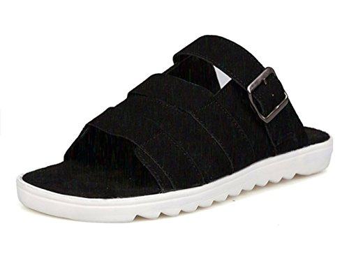 KISS GOLD(TM) Zapato Plano Zapatilla Esqueleto de Moda Hombre Negro-Modelo B