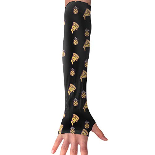 WAY.MAY Hawaii Pineapple Pizza Pattern Sun Protection Sleeve Long Arm Fingerless Gloves Outdoor Sleeve