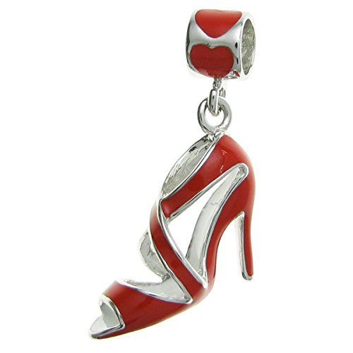 Enamel Shoe Charm Bracelet (925 Sterling Silver Love High Heel Shoe Red Enamel Dangle Bead For European Charm Bracelet)