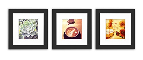 Golden State Art, Smartphone Instagram Frames Collection,Set of 3, 6x6-inch Square Photo Wood Frames with White Photo Mat & Real Glass for 4x4 photo, - Frames Black Square
