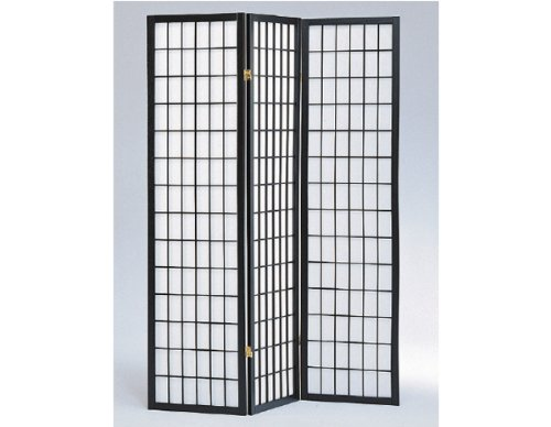 3 to 10 Panel Room Divider Square Design Black (3 Panel)