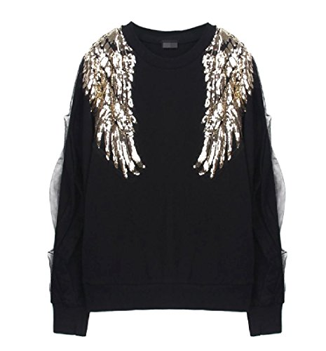 Comfy Womens Angel Wing Mesh Tees Stitching Novelty Tracksuit Top 1 OS