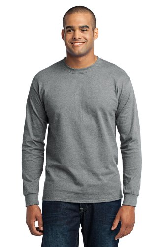 - Port & Company Tall Long Sleeve 50/50 Cotton/Poly T-Shirt>2XLT Athletic Heather