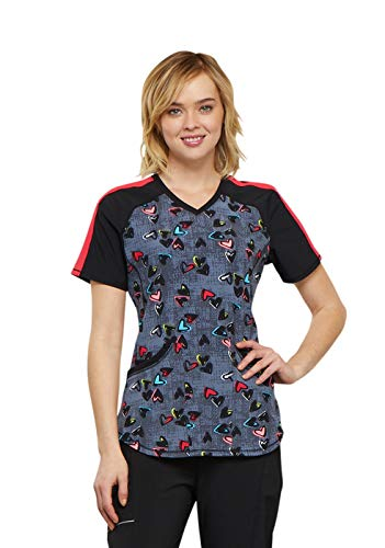 Cherokee Infinity Women's V-Neck Heart Print Scrub Top Large Print