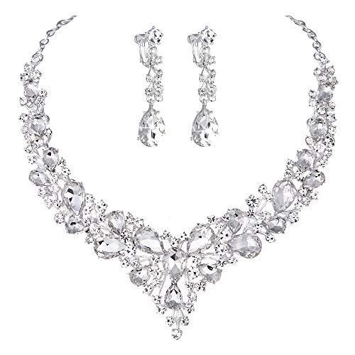Youfir Bridal Austrian Crystal Necklace and Earrings Jewelry Set Gifts fit with Wedding Dress (Clear-Ear Clip)