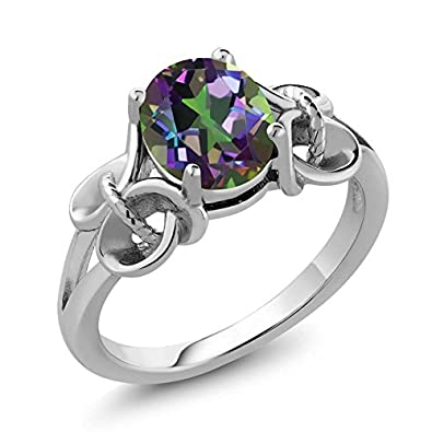 Gem Stone King 925 Sterling Silver Mystic Topaz Women s Ring Green Oval 9X7MM 2.30 Cttw Available 5,6,7,8,9