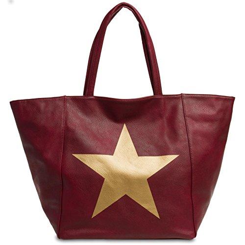 CASPAR XL à pour avec métallisée Rouge main femme grande Sac étoile TS1017 qxqFarAg