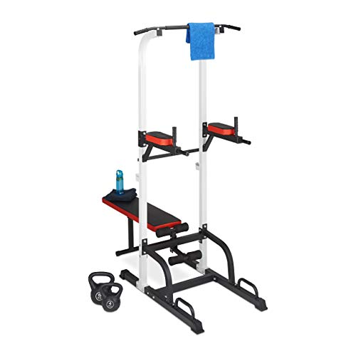 Relaxdays Unisex's Power Home Bench, Professional Gym Tower incl. Dip Station, Pull-up Bar, 228 x 102 x 196 cm, Black, One Size