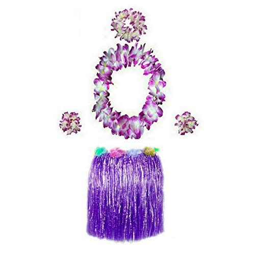 - Hawaiian Luau Hula Grass Skirt with Large Flower Costume Set for Dance Performance Party Decorations Favors Supplies (16