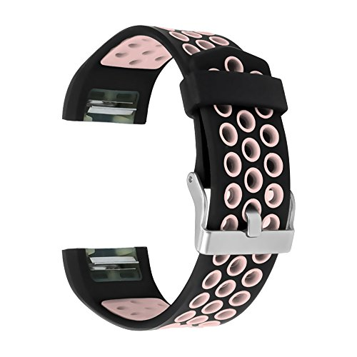 Fitbit Charge 2 Replacement Bands, RedTaro Fitbit Charge 2 Accessory Wristbands Small Large,12 Solid Colors and more Fashion Designs (003 Black/Light Pink, Large (Pink Solid Wristband)
