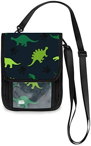 トラベルウォレット ミニ ネックポーチトラベルポーチ ポータブル カラフルな恐竜 小さな財布 斜めのパッケージ 首ひも調節可能 ネックポーチ スキミング防止 男女兼用 トラベルポーチ カードケース
