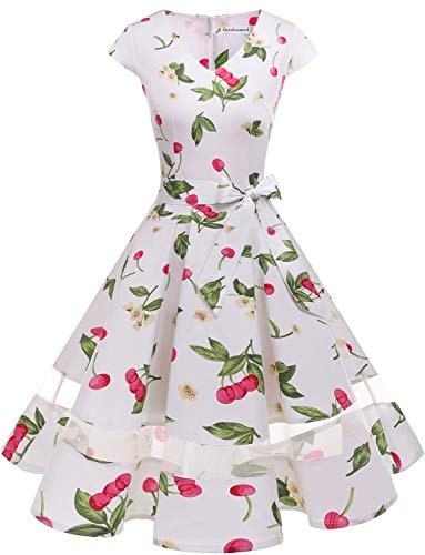 - Gardenwed Women's 1950s Rockabilly Cocktail Party Dress Retro Vintage Swing Dress Cap-Sleeve V Neck White Small Cherry-M
