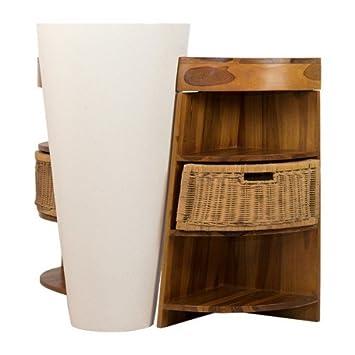 Salle de Bain en Teck Keops Simple Vasque et Son Miroir Teck: Amazon ...