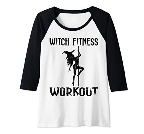 Womens Witch Fitness Workout Funny Halloween Raglan Baseball Tee
