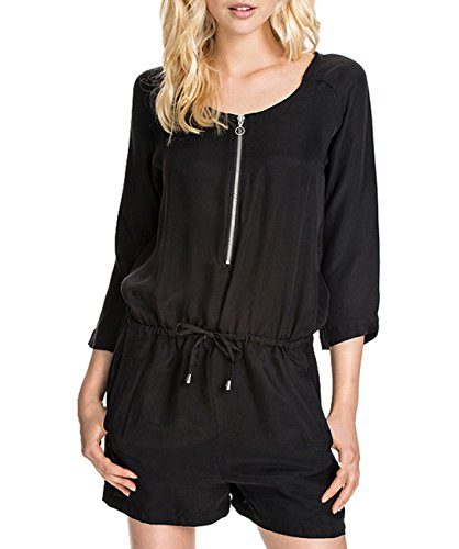 Zip Up Front Fall Short Rompers Solid Jumper Playsuit Black S ()