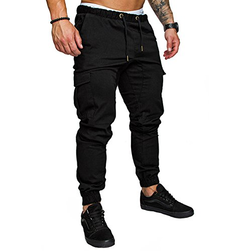 Cuff Pants Black (RUEWEY Men Athletic Gym Fitness Sweatpants Joggers Pants with Cargo Pockets (XL, Black))
