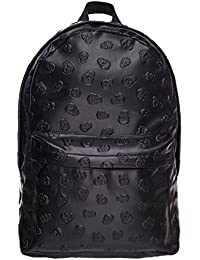Water Proof PU Leather Backpack Vintage School Bag Black Skull