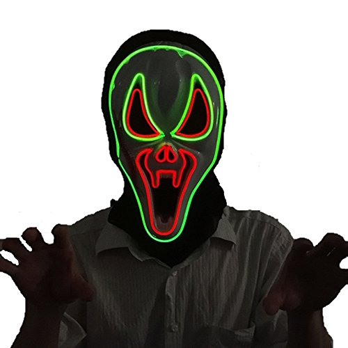 Scary Led Mask Purge Halloween Light Up Costumes Glow Stick Party City Mask for Parties Festival Costume by Latburg (green)