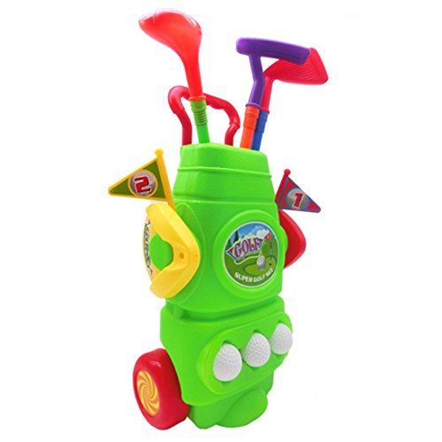 Kids Outdoor Club - RuiyiF Toy Golf Clubs Set for Kids Toddlers Boys Girls with 3Golf Balls, 3Golf Clubs, 2Ball Holes,2Flags,1Trolley Case - Green
