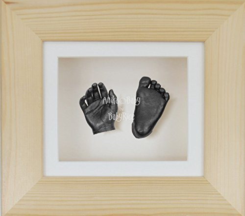BabyRice 3D Baby Boy Casting Kit Natural Pine Wood Frame Pewter Foot Casts
