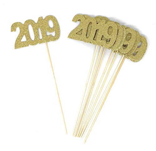 8 pack of Double Sided Gold Glitter 2019 Centerpiece Sticks in Various Colors for DIY Graduation and New Years Decor (Gold)]()