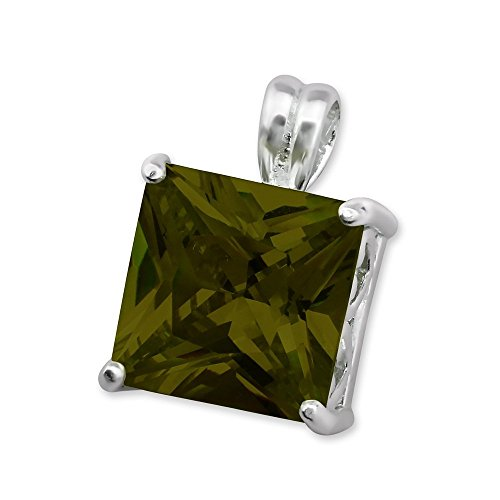 Glitz Jewel (Sterling Silver Simulated Olivine Square Pendant with Cubic Zirconia)
