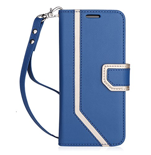 FYY Case for Galaxy S8, Samsung Galaxy S8 Case [RFID Blocking wallet] [Makeup Mirror] Premium PU Leather Wallet Case with Cosmetic Mirror and Hand Strap for Samsung Galaxy S8 Navy Blue by FYY