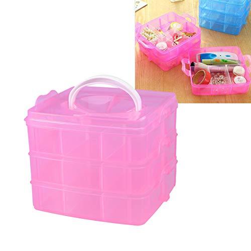 Artibetter Scatola di immagazzinaggio a tre strati con coperchio rimovibile Scatola con stoccaggio di gioielleria per bambini a 18 griglie (rosa)