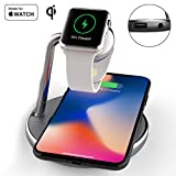 Mangotek Wireless Phone Watch Charger Pad, 3 in 1 Magnetic Watch Charging Station with USB Port for iPhone 8/8 Plus/X/X Max/X R and Apple Watch iWatch 4/3/2/1, 38mm/40mm/42mm/44mm, Mfi Certified