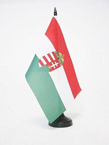 BANDIERA DA TAVOLO UNGHERIA CON STEMMA 21x14cm - PICCOLA BANDIERINA UNGHERESE CON BLASONE 14 x 21 cm - AZ FLAG