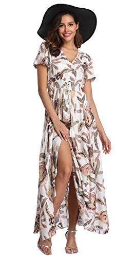 VintageClothing Women's Floral Print Maxi Dresses Boho Button Up Split Beach Party Dress, White&Feather Print, XL -