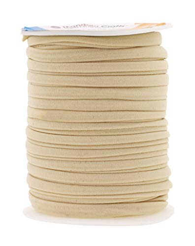 (Mandala Crafts Soft Elastic Cord from Spandex Nylon Fabric for Jewelry Making, Sewing, and Crafting (Cream))
