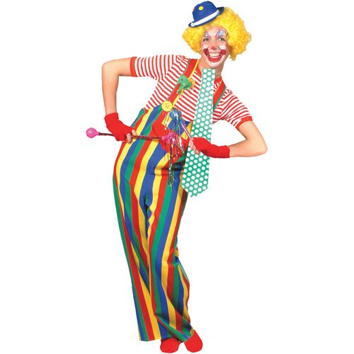 Striped Clown Overalls Adult (Adult Overalls Clown Costumes)