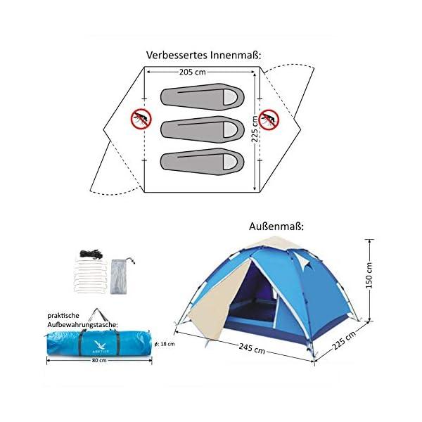 41zeBKfNpAL Aretus - Wurfzelt 2 - 4 Personen AUF-ABBAU IN 45 SEKUNDEN -Extra Groß & Wasserdicht- Pop up Zelt 3 Person automatik…