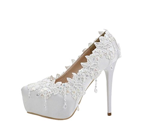 Miyoopark , Semelle compensée femme - Blanc - White-14cm Heel, 35