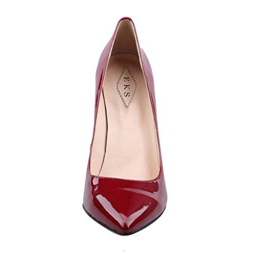 EKS - Merceditas de tacón alto Mujer Rojo - Hochrote-Lackleder