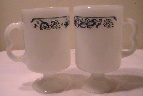 (Corning Blue Onion (Old Town Blue) Milk Glass Pedestal Mugs - Set of 4)