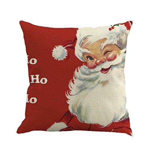 Price comparison product image Auwer Merry Christmas Santa Claus Cotton Linen Pillow Case Cushion Cover Sofa Waist Throw Bed Chair Pillowcase Festival Home Decoration 18'' (A)