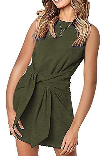 (onlypuff Olive Green Dress for Women Tie Front Sleeveless Above-The-Knee Tank Tunic Tops S)