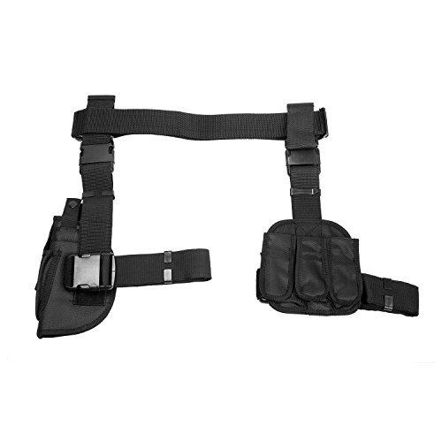DROP LEG HOLSTER & MAG POUCH X4 - BLACK (CV2908)