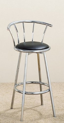(29 Inch Chrome Plated Bar Stool (Set of 2) in Chrome / Black Cushion - Coaster)