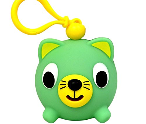 Oshaberi Doubutsu Talking Animal Ball Borukuma Stress Ball - Key Chain Clip - Green Cat