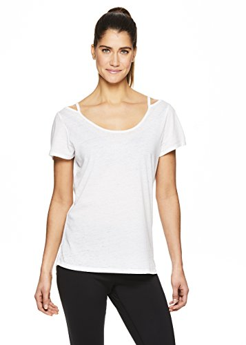 Gaiam Women's Open Back Yoga T Shirt - Relaxed Fit Short Sleeve Workout & Training Top - Bright White, X-Small ()