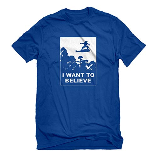 Indica Plateau Mens I Want to Believe Nimbus Fighter Small Royal Blue T-Shirt -