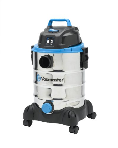 - Vacmaster 6 Gallon, 3 Peak HP, Stainless Steel Wet/Dry Vacuum, VQ607SFD