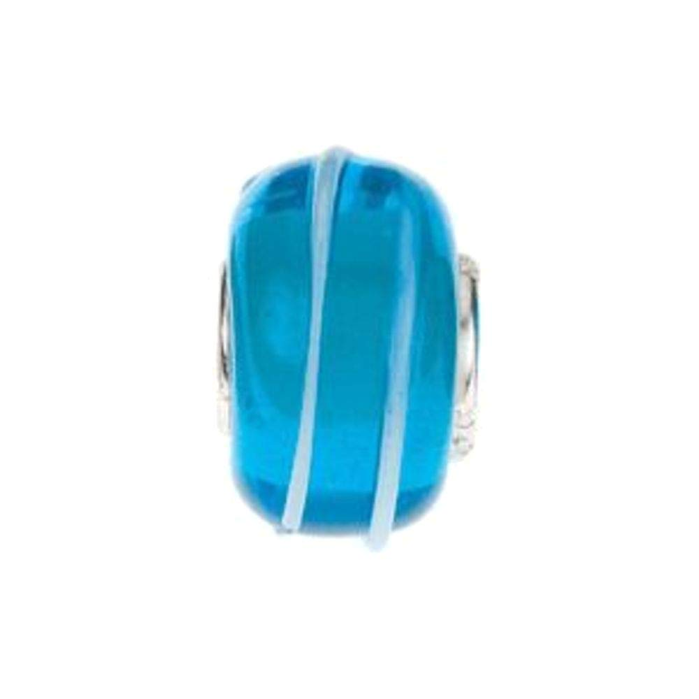 Bonyak Jewelry Sterling Silver 15x9 mm Turquoise Bead with Blue Stripes