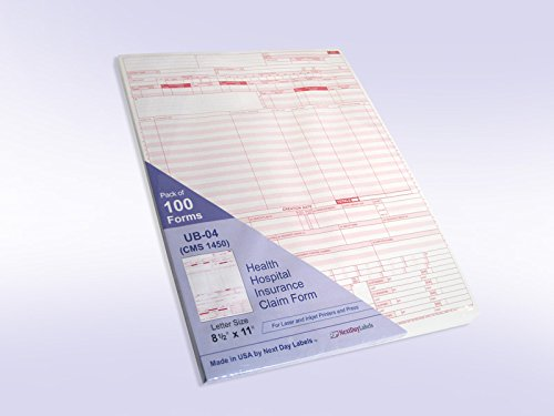UB-04 (CMS 1450) Health Hospital Insurance Claim Form, Laser 8-1/2 x 11'' 100 Forms Per Pack